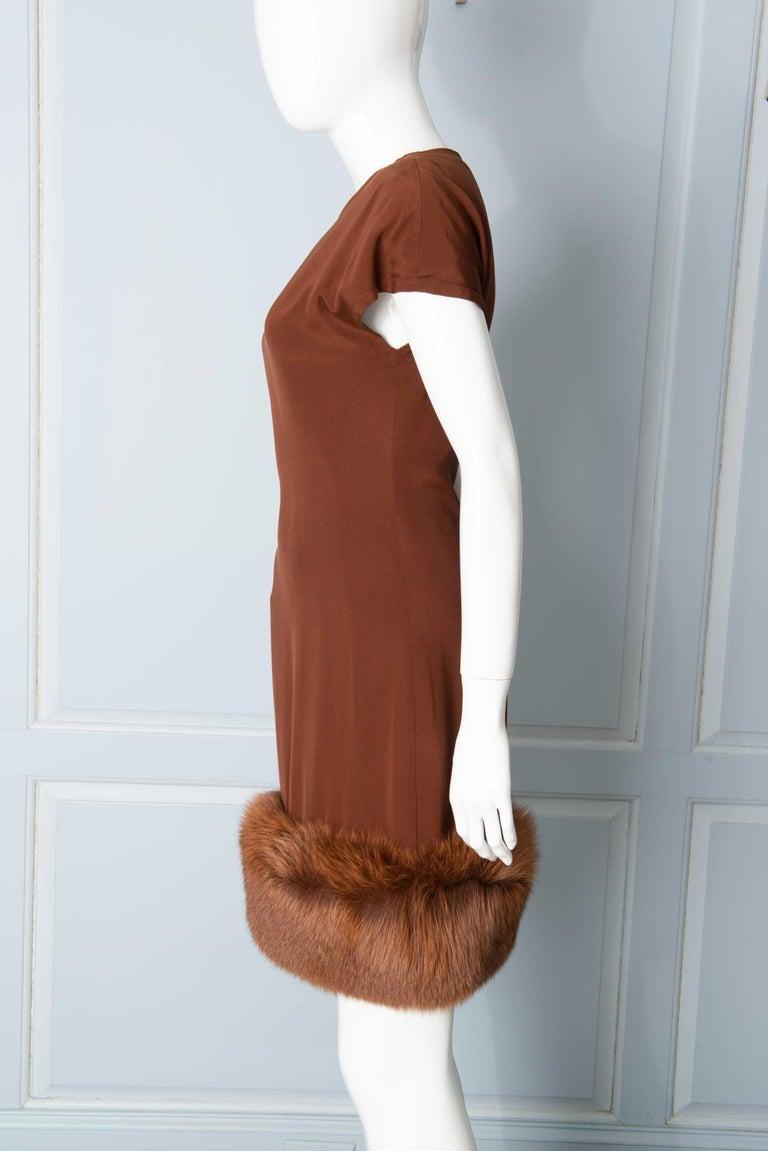 Louis Feraud Haute Couture Brown Silk, Cashmere, Fox Fur Dress and Coat 12