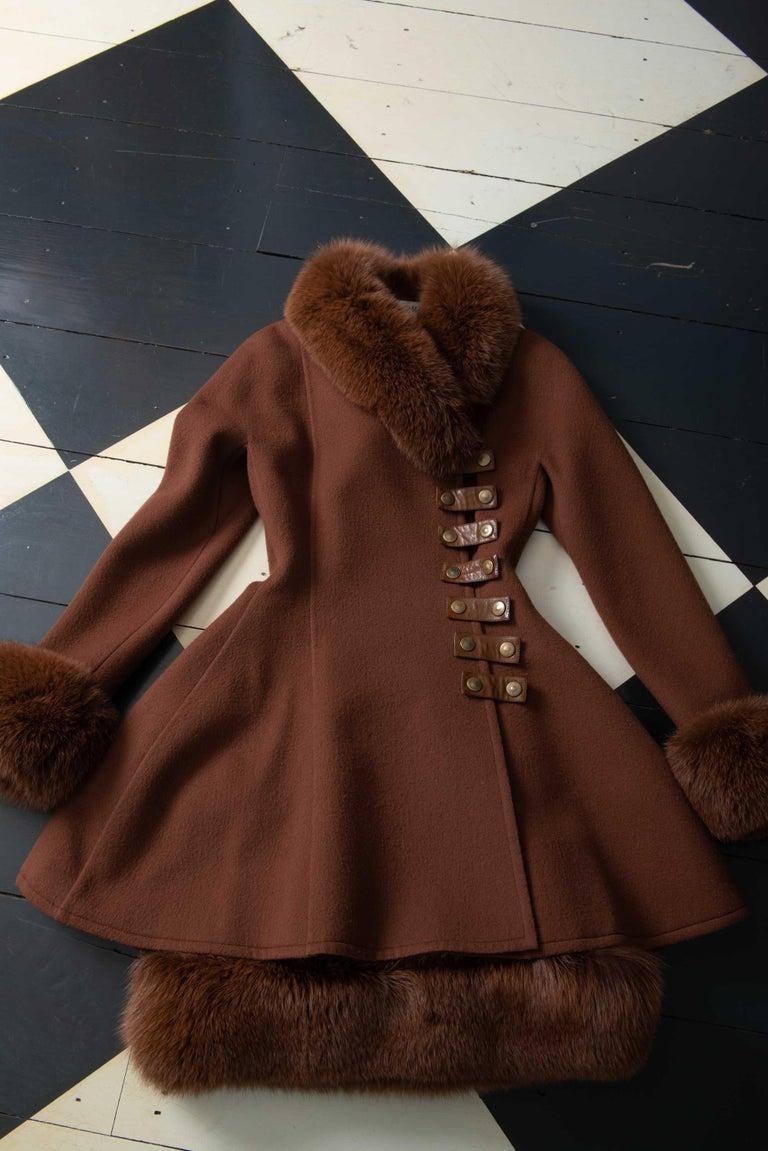 Louis Feraud Haute Couture Brown Silk, Cashmere, Fox Fur Dress and Coat 13