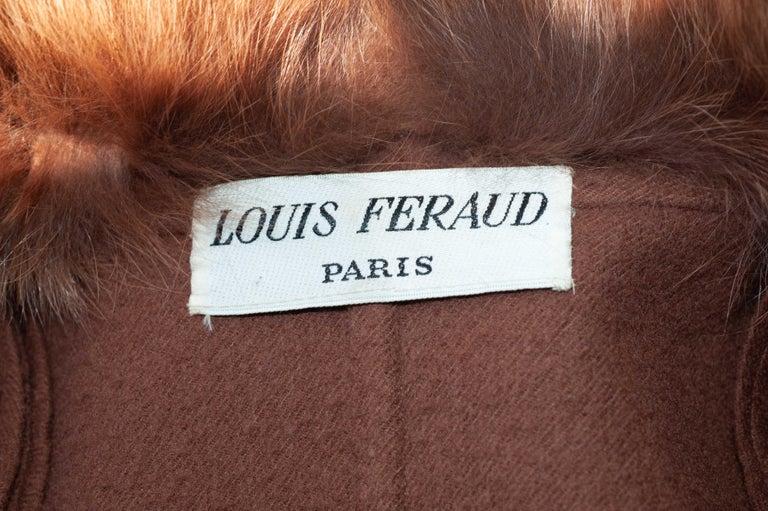 Louis Feraud Haute Couture Brown Silk, Cashmere, Fox Fur Dress and Coat 14