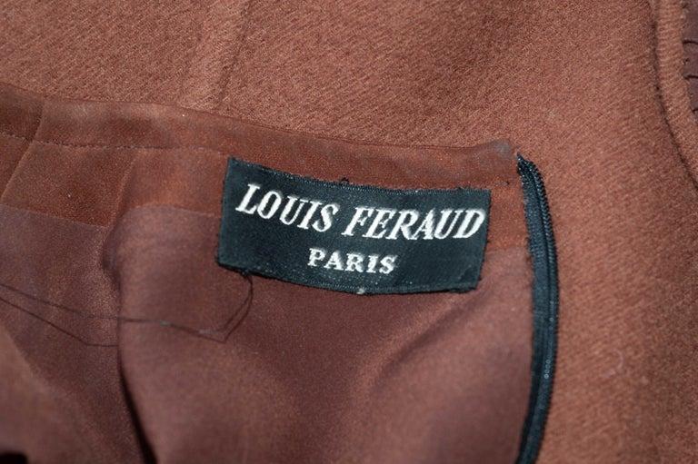 Louis Feraud Haute Couture Brown Silk, Cashmere, Fox Fur Dress and Coat 15