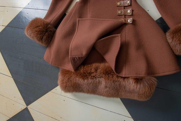 Louis Feraud Haute Couture Brown Silk, Cashmere, Fox Fur Dress and Coat 16