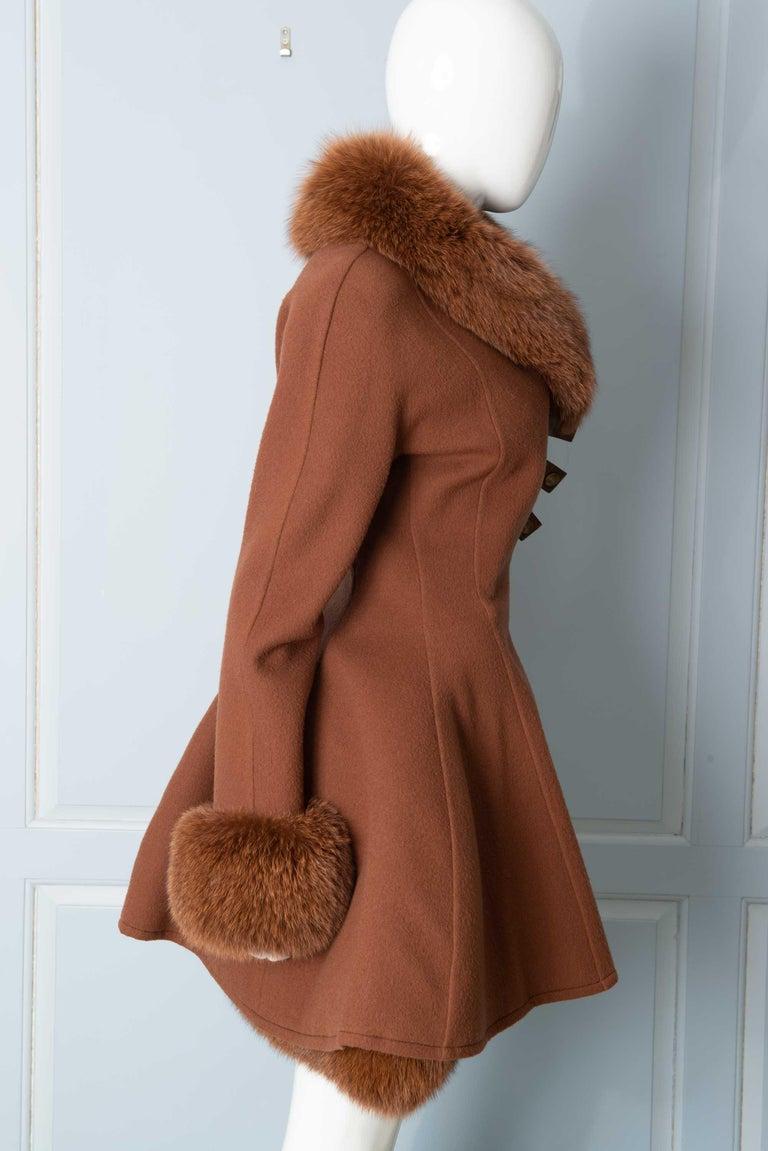 Women's Louis Feraud Haute Couture Brown Silk, Cashmere, Fox Fur Dress and Coat