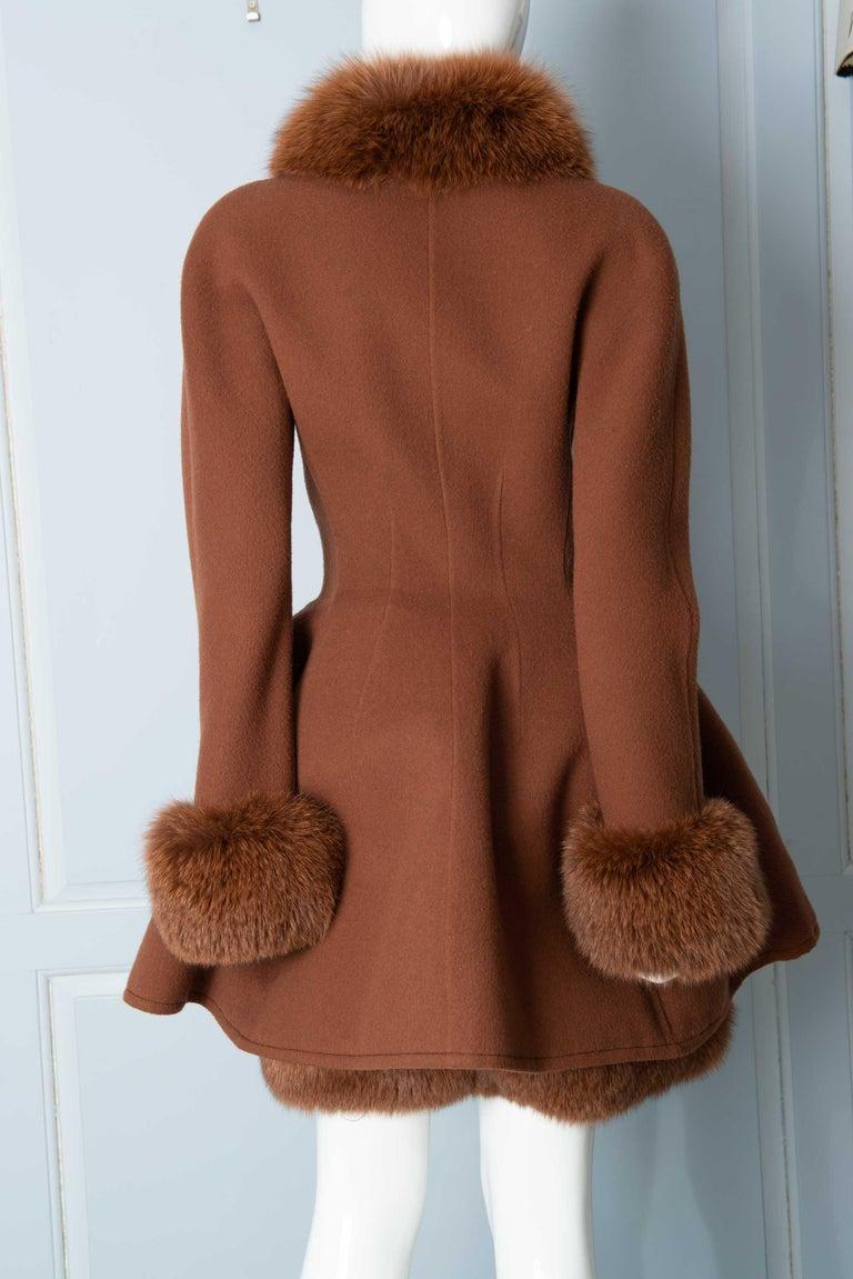 Louis Feraud Haute Couture Brown Silk, Cashmere, Fox Fur Dress and Coat 1