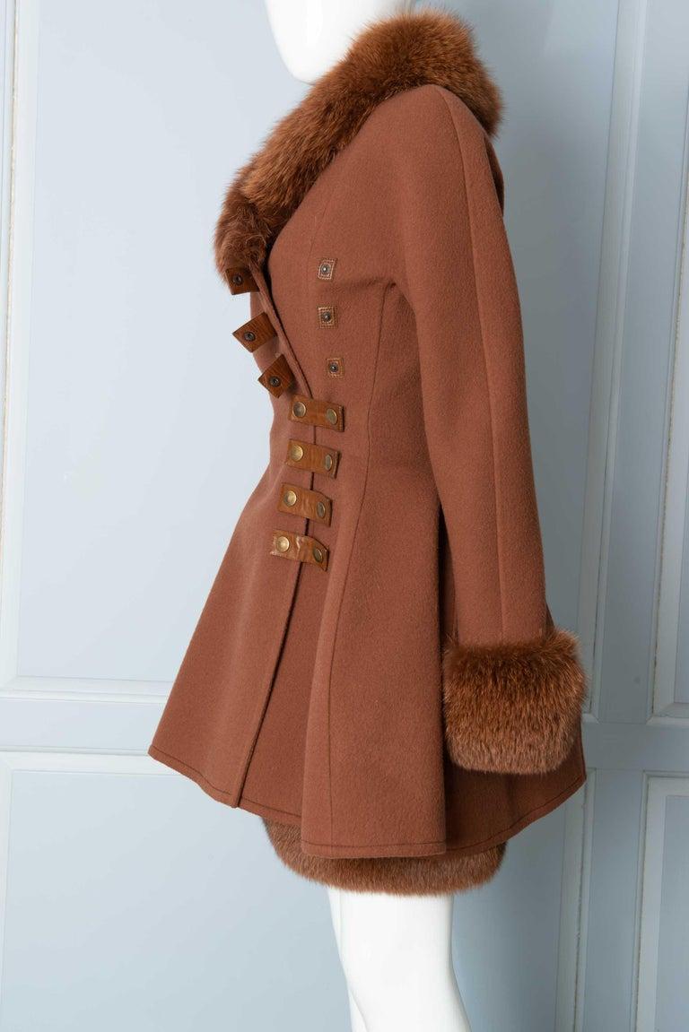 Louis Feraud Haute Couture Brown Silk, Cashmere, Fox Fur Dress and Coat 3
