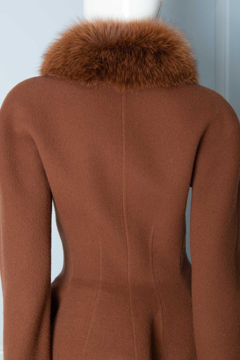 Louis Feraud Haute Couture Brown Silk, Cashmere, Fox Fur Dress and Coat 4