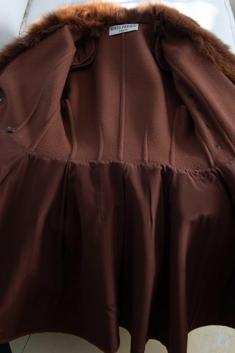 Louis Feraud Haute Couture Brown Silk, Cashmere, Fox Fur Dress and Coat 5