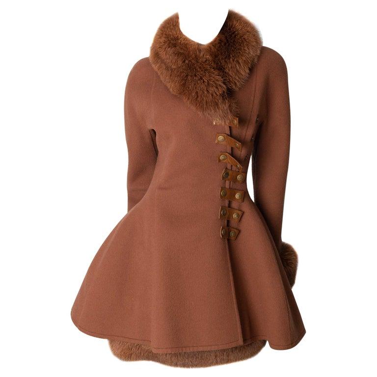 Louis Feraud Haute Couture Brown Silk, Cashmere, Fox Fur Dress and Coat