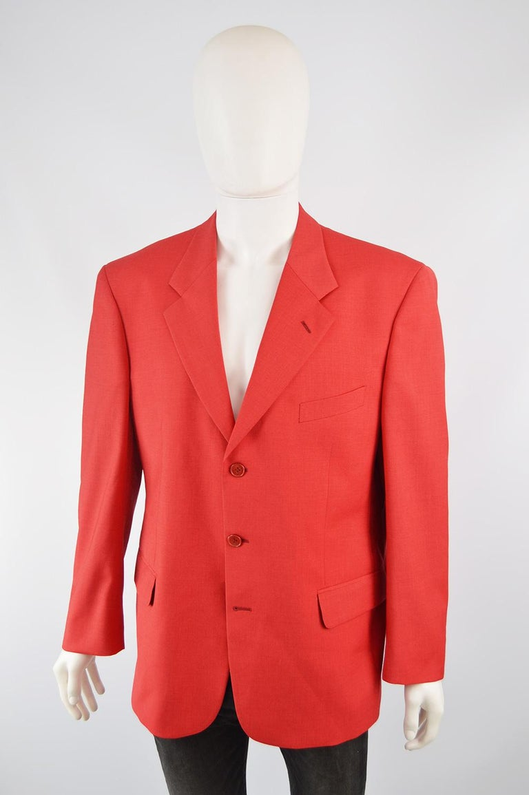 Louis Féraud Men's Vintage Bold Red Pure Virgin Worsted Wool Blazer, 1990s In Good Condition In Doncaster, South Yorkshire