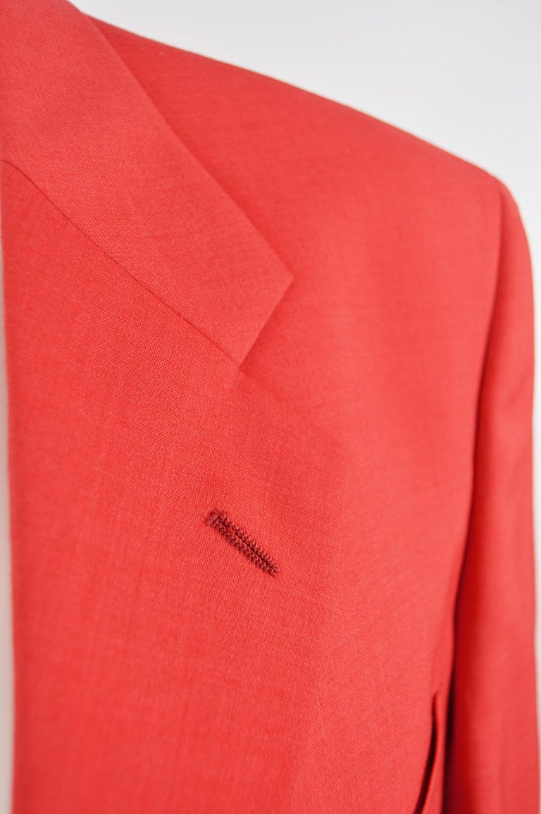 Louis Féraud Men's Vintage Bold Red Pure Virgin Worsted Wool Blazer, 1990s 1