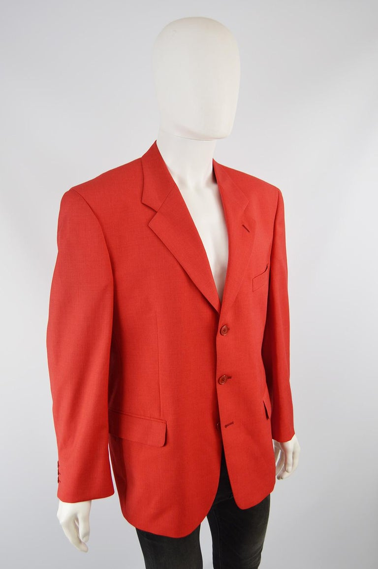 Louis Féraud Men's Vintage Bold Red Pure Virgin Worsted Wool Blazer, 1990s 2