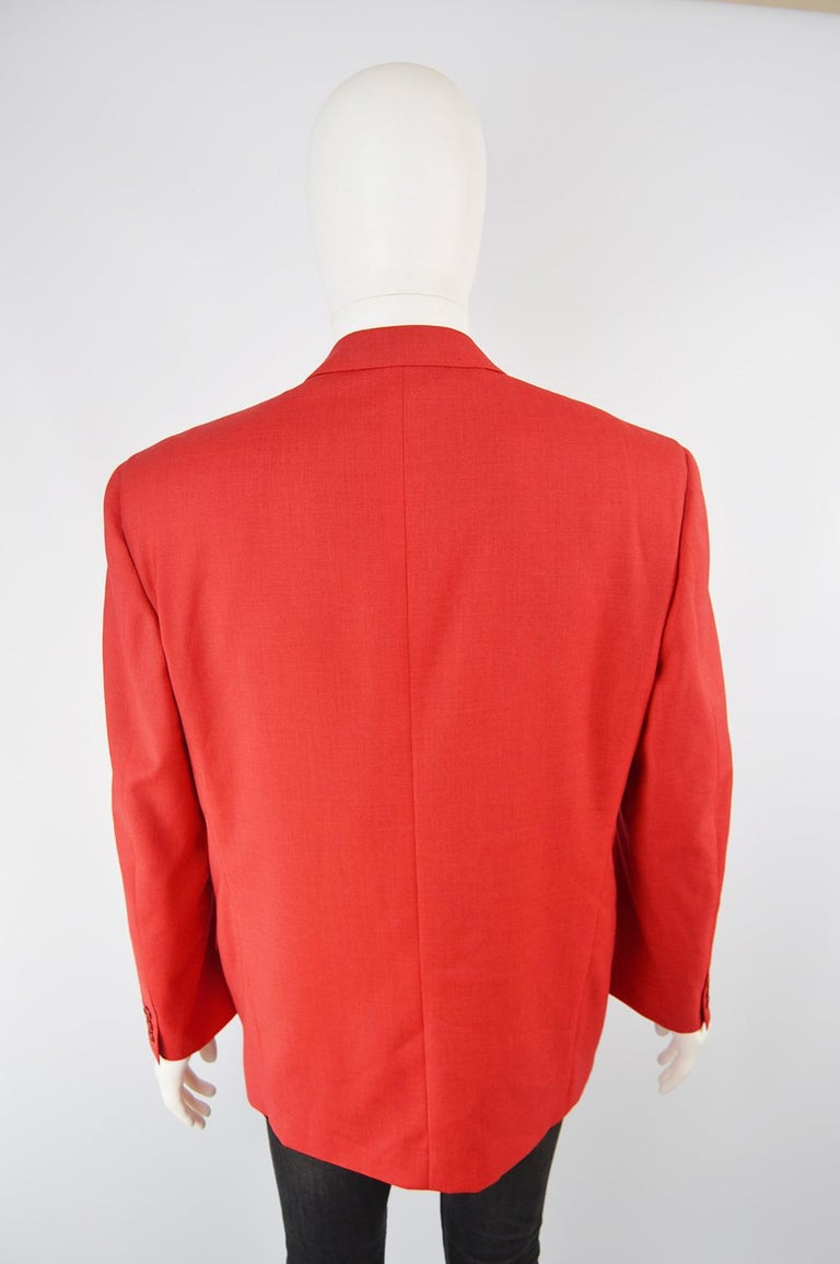 Louis Féraud Men's Vintage Bold Red Pure Virgin Worsted Wool Blazer, 1990s 3