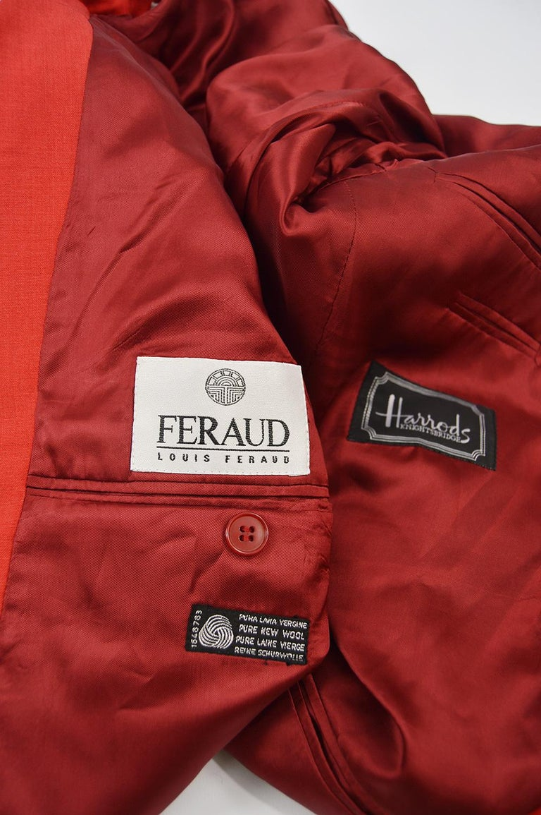 Louis Féraud Men's Vintage Bold Red Pure Virgin Worsted Wool Blazer, 1990s 4