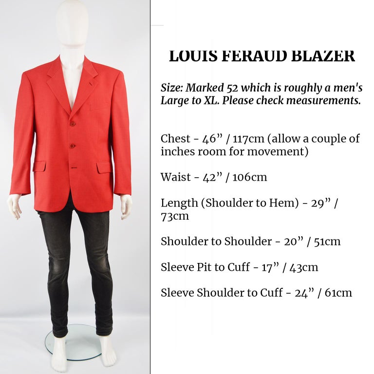 Louis Féraud Men's Vintage Bold Red Pure Virgin Worsted Wool Blazer, 1990s 5