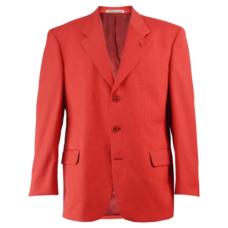 Louis Féraud Men's Vintage Bold Red Pure Virgin Worsted Wool Blazer, 1990s