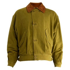 Louis Feraud Men's Vintage Olive Yellow Cotton Brown Suede Bomber Jacket, 1980s