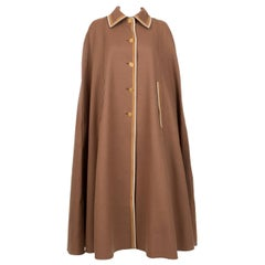 Louis Feraud Nut Wool Cape Coat