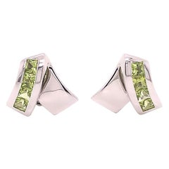 Louis Feraud Peridot Designer 18 Karat Stud Earrings