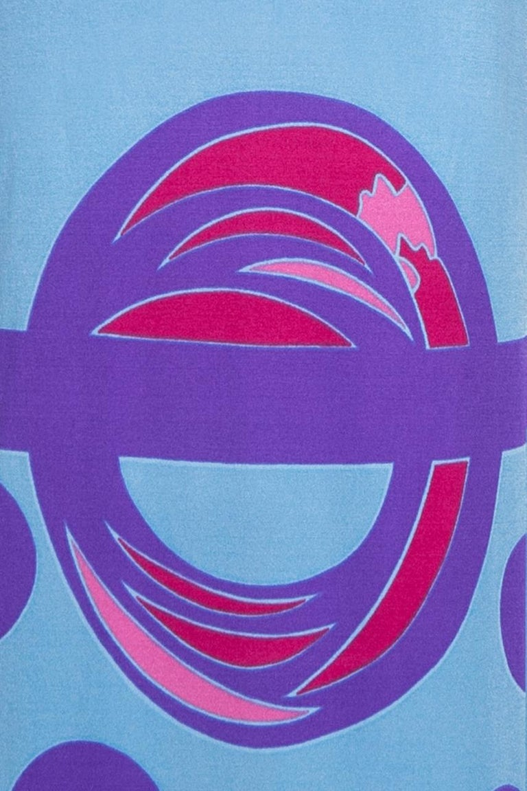 Louis Féraud Pink Blue Purple Jersey Mod Maxi Dress With Matching Scarf, c. 1970 For Sale 6