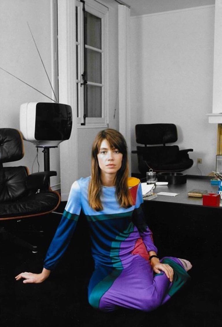 Louis Féraud Pink Blue Purple Jersey Mod Maxi Dress With Matching Scarf, c. 1970 For Sale 10