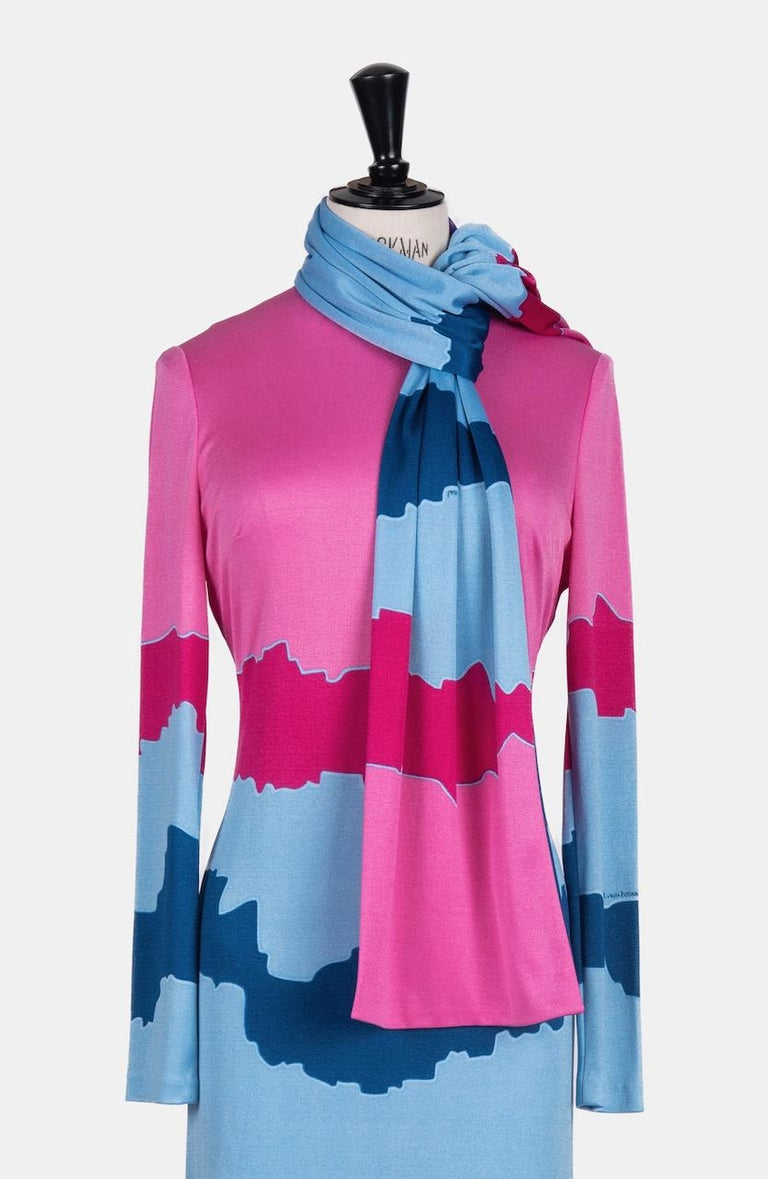 Louis Féraud Pink Blue Purple Jersey Mod Maxi Dress With Matching Scarf, c. 1970 For Sale 2