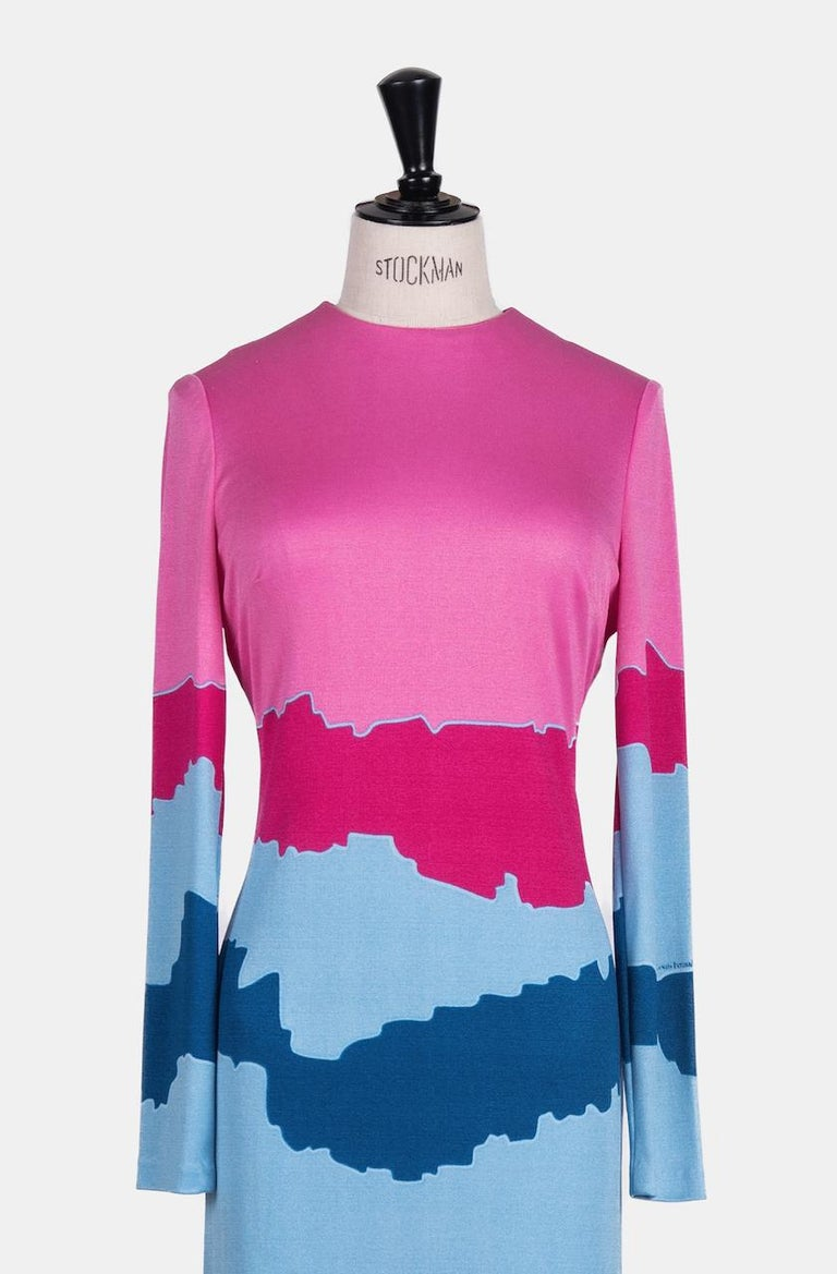 Louis Féraud Pink Blue Purple Jersey Mod Maxi Dress With Matching Scarf, c. 1970 For Sale 3