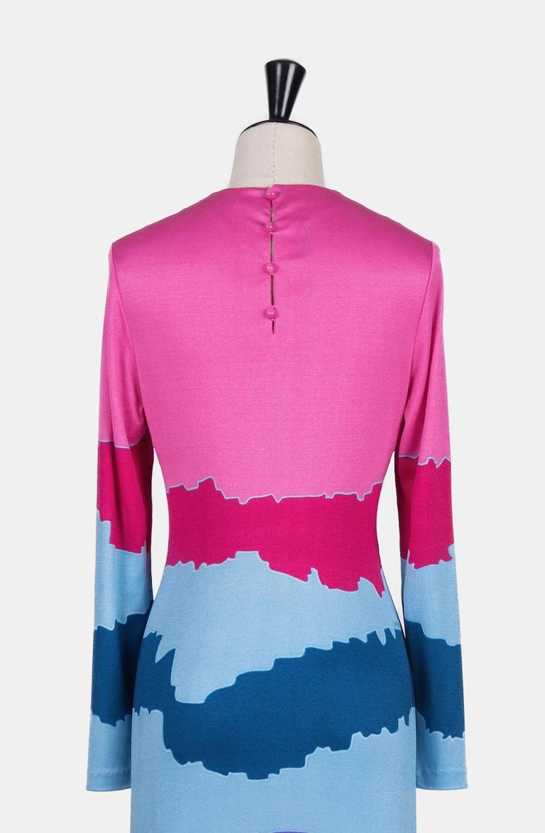 Louis Féraud Pink Blue Purple Jersey Mod Maxi Dress With Matching Scarf, c. 1970 For Sale 4