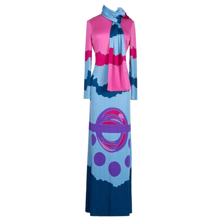 Louis Féraud Pink Blue Purple Jersey Mod Maxi Dress With Matching Scarf, c. 1970 For Sale