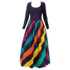Louis Feraud Silk Faille Eggplant Polychrome Striped Evening Dress, Ca. 1980's