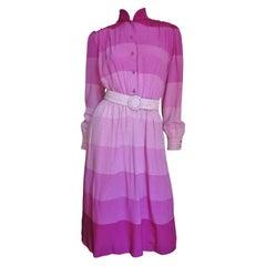 Louis Feraud Silk Striped Shirtwaist Dress 1970s