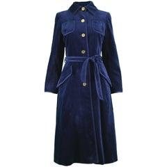 Louis Feraud Vintage 1970s Women's Midnight Blue Velvet Belted Trench Coat