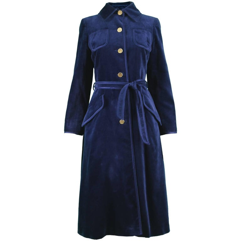 Louis Feraud Vintage 1970s Women's Midnight Blue Velvet Belted Trench Coat