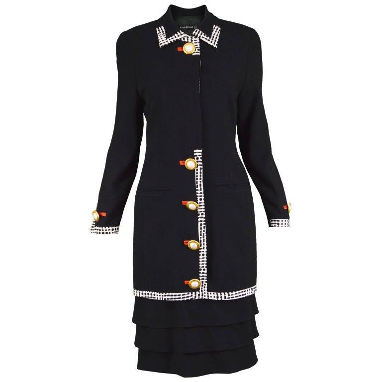 Louis Feraud Vintage 1980s Black Wool & Silk Sophisticated Tiered Day Dress
