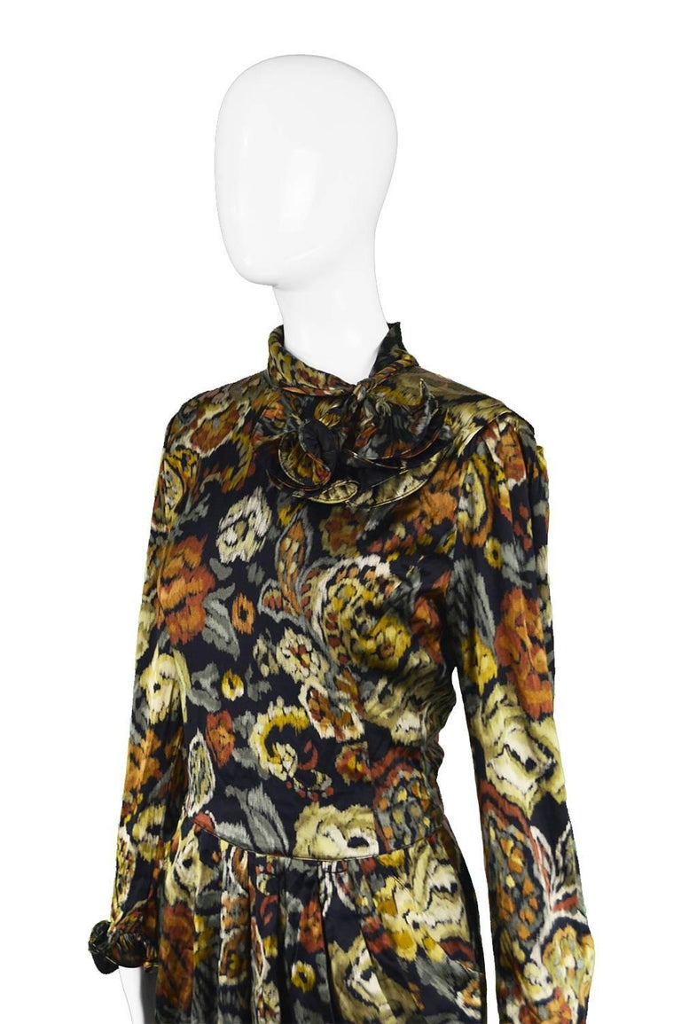 Black Louis Feraud Vintage 1980s Long Sleeve Floral Ruffle Silk Satin Cocktail Dress For Sale