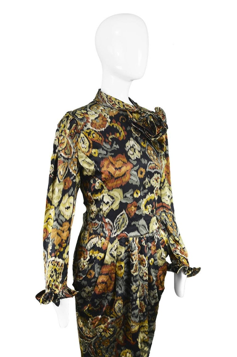 Louis Feraud Vintage 1980s Long Sleeve Floral Ruffle Silk Satin Cocktail Dress For Sale 1