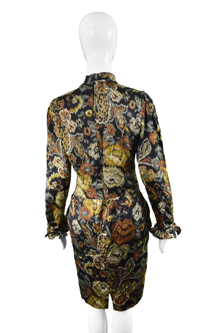 Louis Feraud Vintage 1980s Long Sleeve Floral Ruffle Silk Satin Cocktail Dress For Sale 2