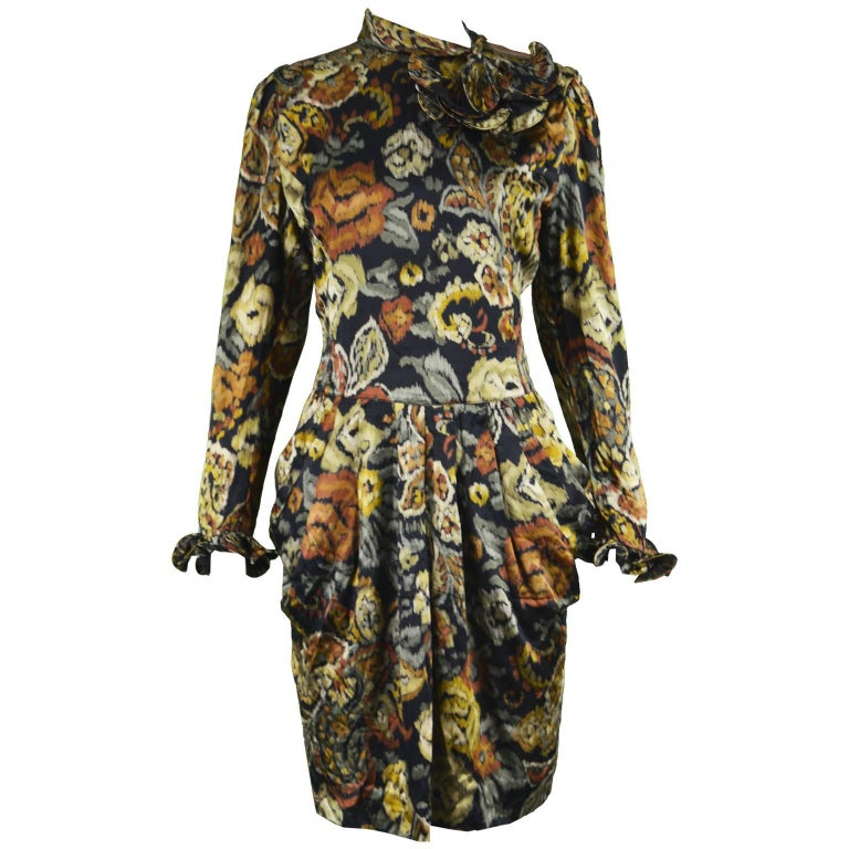 Louis Feraud Vintage 1980s Long Sleeve Floral Ruffle Silk Satin Cocktail Dress For Sale