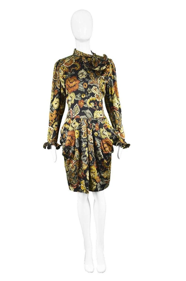 """Louis Feraud Vintage 1980s Long Sleeve Floral Ruffle Silk Cocktail Dress  Estimated Size: UK 12/ US 8/ EU 40. Please check measurements.  Bust - 38"""" / 96cm Waist - 30"""" / 76cm Hips - 42"""" / 106cm Length (Shoulder to Hem) - 38"""" / 96cm Shoulder to"""