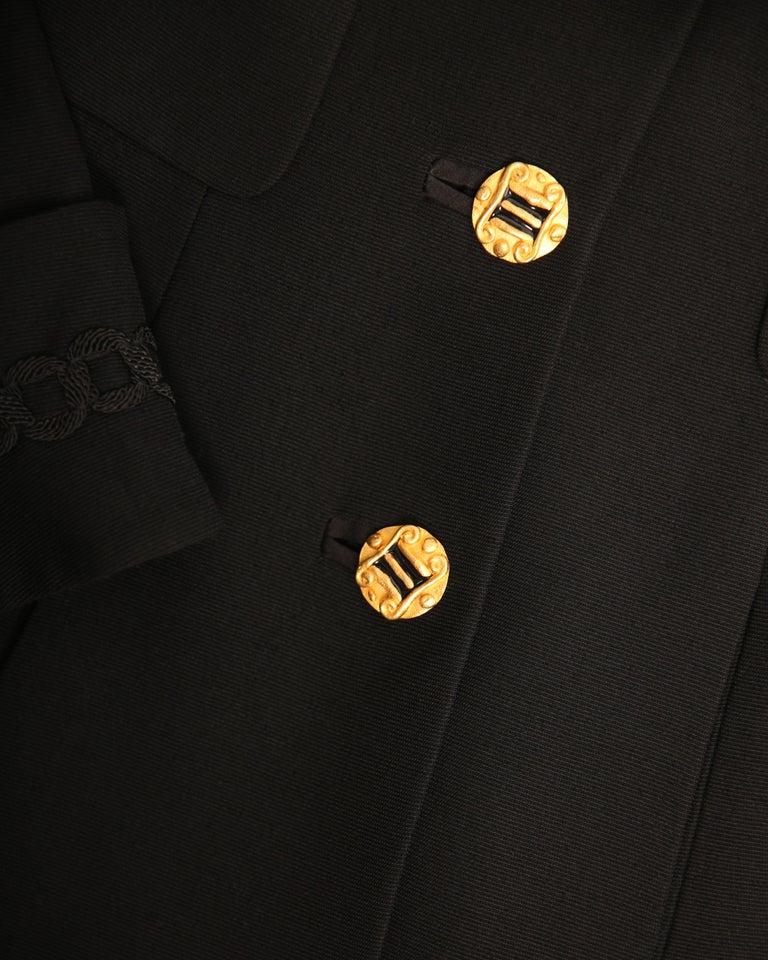 Louis Feraud vintage black gold button oversized braided blazer jacket For Sale 5