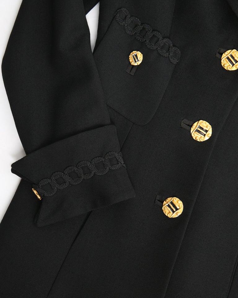 Louis Feraud vintage black gold button oversized braided blazer jacket For Sale 6