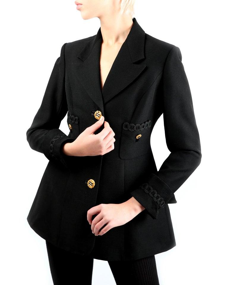 Black Louis Feraud vintage black gold button oversized braided blazer jacket For Sale