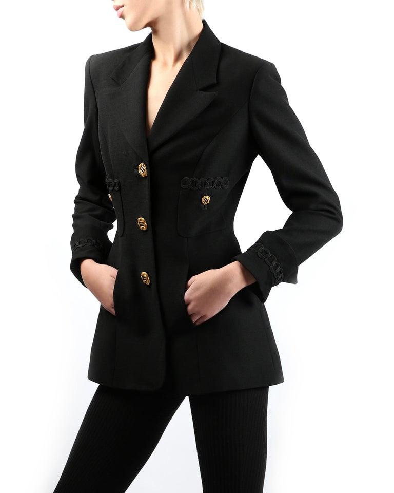 Louis Feraud vintage black gold button oversized braided blazer jacket In Excellent Condition For Sale In Paris, FR