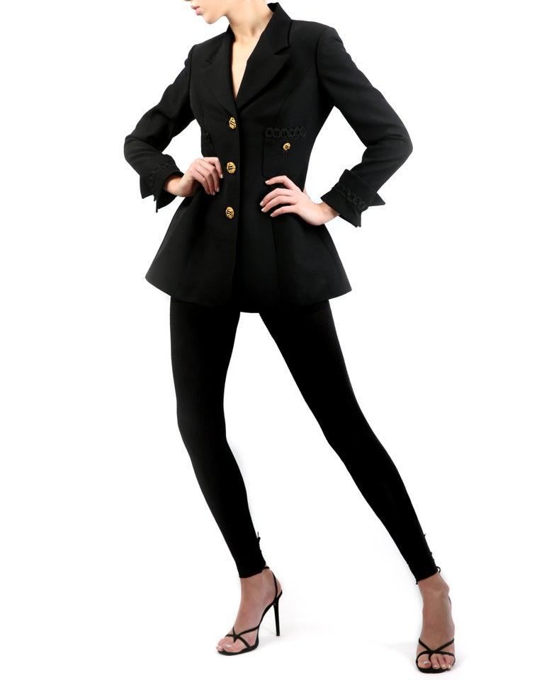 Women's Louis Feraud vintage black gold button oversized braided blazer jacket For Sale