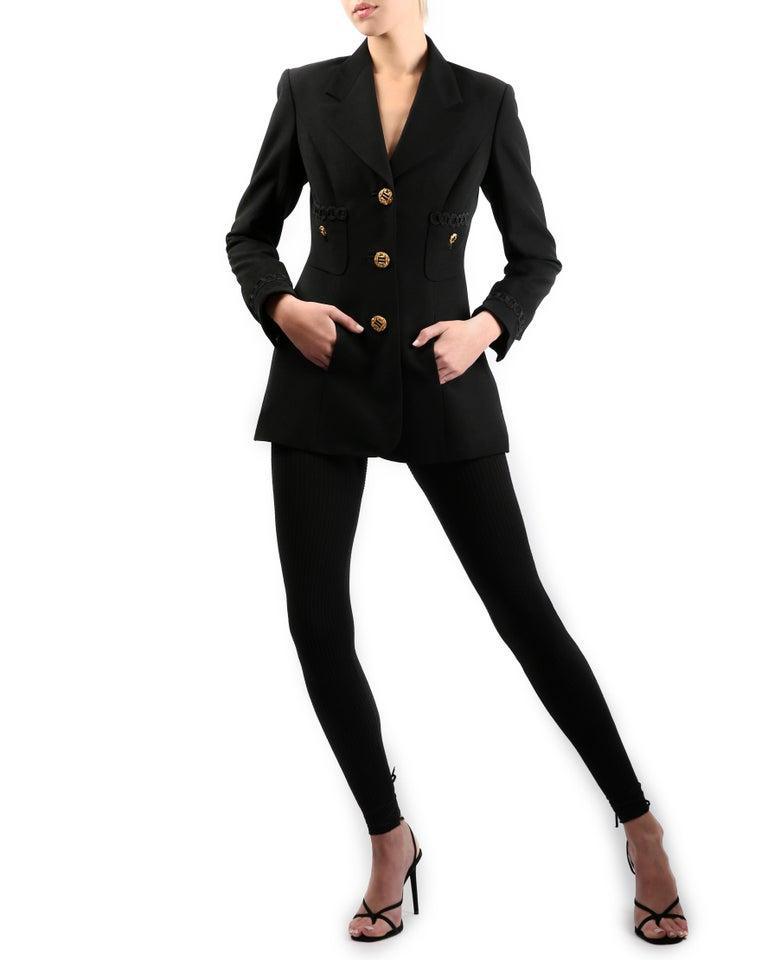Louis Feraud vintage black gold button oversized braided blazer jacket For Sale 1