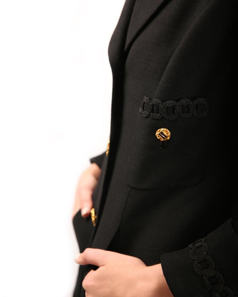 Louis Feraud vintage black gold button oversized braided blazer jacket For Sale 4