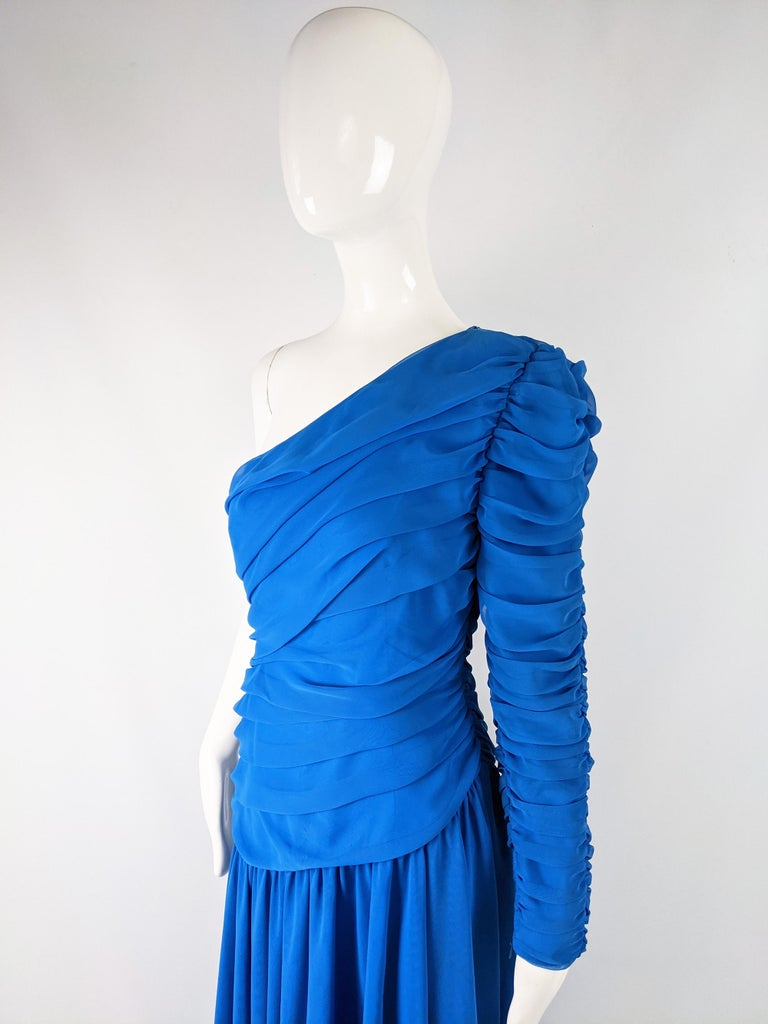Louis Feraud Vintage Blue Chiffon Evening Dress In Excellent Condition For Sale In Doncaster, South Yorkshire