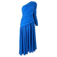 Louis Feraud Vintage Blue Chiffon Evening Dress