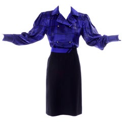 Louis Feraud Vintage Blue Plaid Silk Blouse & Black Wool Skirt Suit Ensemble