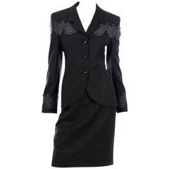 Louis Feraud Vintage Grey Wool Skirt Blazer Suit With Lace Applique