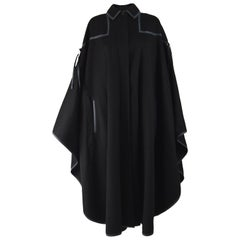 Louis Feraud Vintage Long Black Wool Cape