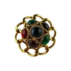 Louis Feraud Vintage Massive Multicolored Glass Cabochons Domed Brooch